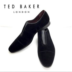 Ted Baker Ehmitt Velvet Formal Loafers Shoes Black